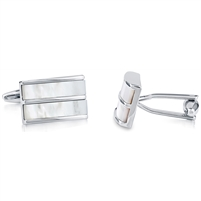 Brass Rhodium Plated With White Shell Cufflink