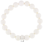 Stretch Bracelet with Crystal Charm Enhancer - 10mm Agate Beads