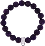 Stretch Bracelet with Crystal Charm Enhancer - 12mm Amethyst Beads