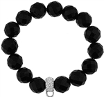 Stretch Bracelet with Crystal Charm Enhancer - 12mm Black Onyx Faceted Beads