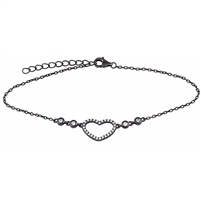Silver Heart Bracelet with Black Rhodium Plated Cubic Zirconia