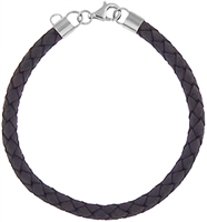 Leather Bracelet with Silver Charm Enchancer