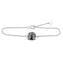 Plain Silver Tree Of Life Bracelet