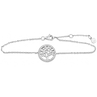 Silver Bar Bracelet with CZ - Tree of Life