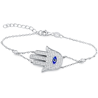 Silver Evil Eye Hamsa Bracelet with CZ
