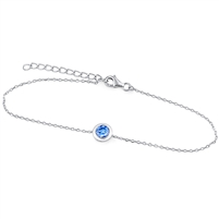Silver Bracelet with Blue Swarovski Crystal