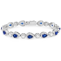 Silver Bracelet with Blue and White CZ