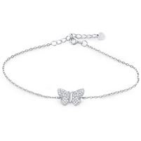 Silver Butterfly Bracelet with CZ