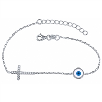 Silver Cross and Evil Eye Bracelet with CZ