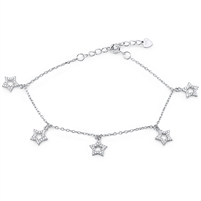 Silver Star Bracelet with CZ