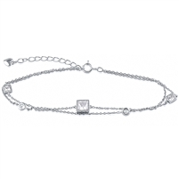 Silver Bracelet with Princes Cut CZ