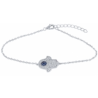 Silver Evil Eye Bracelet with CZ