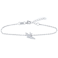 Silver Bird Bracelet with CZ