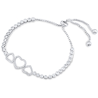 Silver Heart Bracelet Fit Wrist with CZ