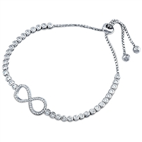 Silver Bracelet Fit Wrist Infinity With CZ