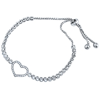 Silver Bracelet Fit Wrist Heart With CZ