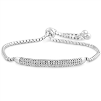 Silver Bracelet Fit Wrist with Micro set CZ