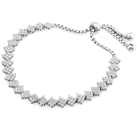 Silver Bracelet Fit Wrist with CZ