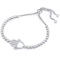 Silver Hamsa Bracelet Fit Wrist with CZ