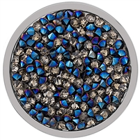 SS Large Blue and Hematite Crystal Coin