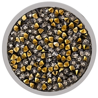 SS Large Hematite and Yellow Crystal Coin