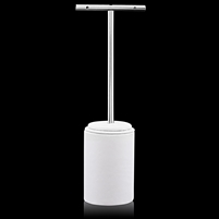 T-Bar White Leather and Stainless Steel Earring Stand.