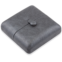 Gray Leatherette Set Earring and Pendant Box