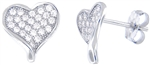 Silver Heart Earring with Micro Set Cubic Zirconia