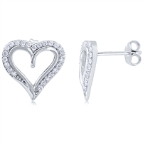 Silver Heart Earring with Micro Set CZ