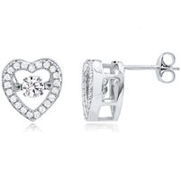 Silver Heart Dancing CZ Earrings