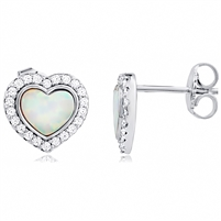 Silver Heart Earrings with Synthetic Opal And CZ