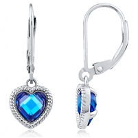Silver Heart Earring With Blue CZ