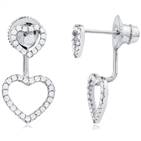 Silver Heart Earring With CZ