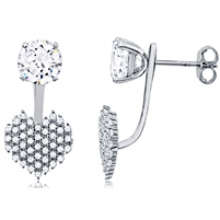 Silver Heart Jacket Earring With CZ