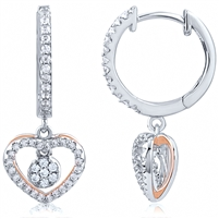 Silver Heart Rose Gold Plated Earring With CZ