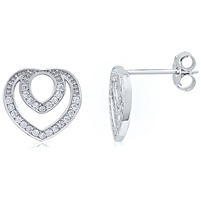 Silver Rhodium Plated Heart Earring With CZ