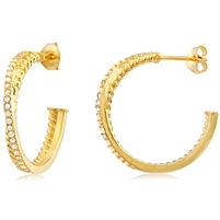 Silver Huggy Earring with 3 Micron Yellow Gold Plating & Cubic Zirconia