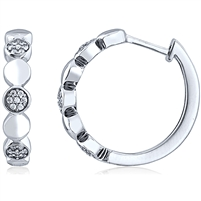 Silver Huggy Earring with Micro set CZ