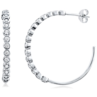 Silver Hoop Earring with CZ