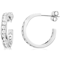 Silver Hoops Earrings with CZ