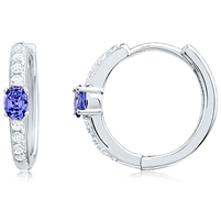 Silver Huggy Earrings with Blue CZ and White CZs