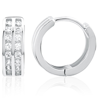 Silver Huggy Earrings with CZ