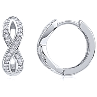 Silver Infinity Huggy Earrings With CZ