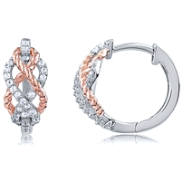 Silver Huggy Rose Gold Plated Earrings With CZ