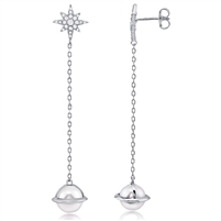 Silver Faux Pearl Earring with CZ