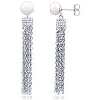 Silver Freshwater Tassel Earrings with CZ