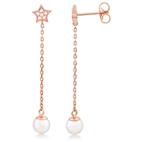 Silver Rose Gold Plated Faux Pearl Earring With CZ