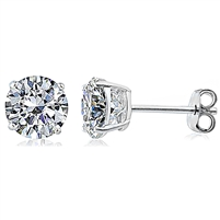 Silver Earring with 5mm Round Stud CZ