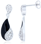 Silver Earring with Cubic Zirconia on Black Enamel