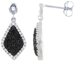 Silver Earring with Black & White Cubic Zirconia